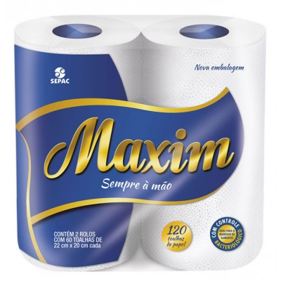 1144 - papel toalha Maxim 2 x 60 toalhas