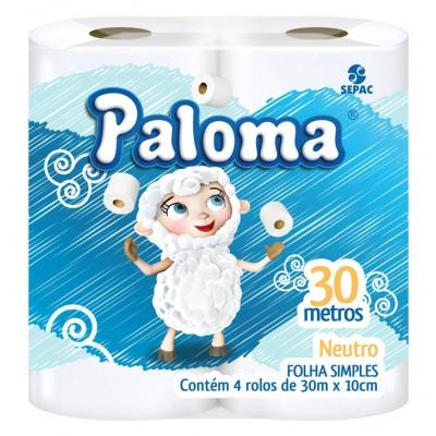 1424 - papel higiênico folha simples Paloma 4 x 30mt
