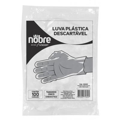1539 - luva descartável plástica transparente Nobre 100un