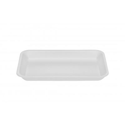1653 - bandeja isopor 02 branca rasa Bom Apetite 100un 21 x 14 x 1,7cm br02