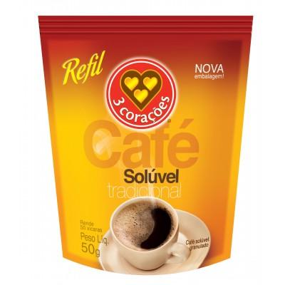 1737 - café solúvel 3 Corações refil 50g