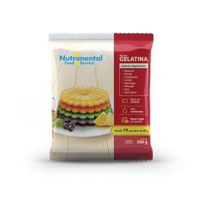 2102 - gelatina framboesa Nutrimental 500g rende 83 porções de 80ml