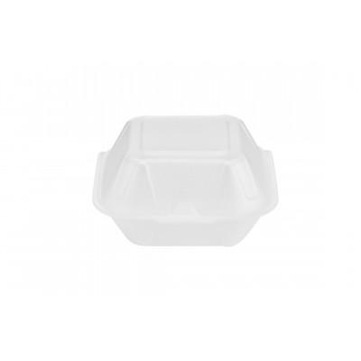 2158 - hamburgueira isopor 03 branca Bom Apetite 100un 15,6 x 16,6 x 9cm BH03