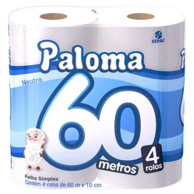 2679 - papel higiênico folha simples super Paloma 4 x 60mt