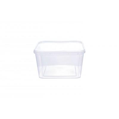 3073 - pote 600ml transparente quadrado com tampa com lacre freezer/micro Prafesta 10un