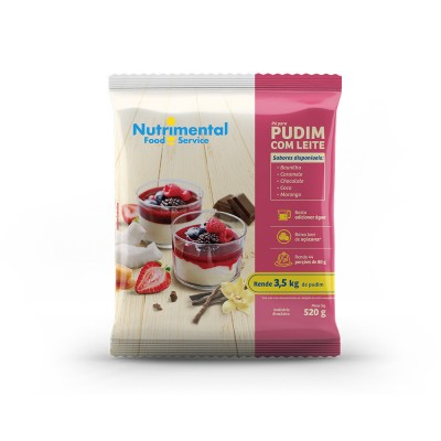 3302 - pudim com leite chocolate Nutrimental 520g rende 44 porções de 80ml