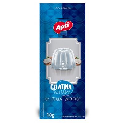 3352 - gelatina sem sabor extra folhas incolores 5 folhas Apti 10g