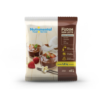 3356 - pudim sem leite baunilha Nutrimental 520g rende 81 porções de 80ml