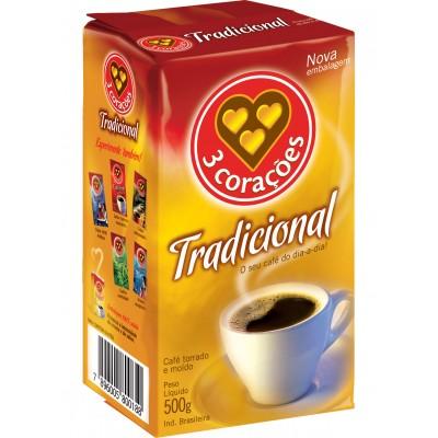 3486 - café tradicional 3 Corações vácuo 500g