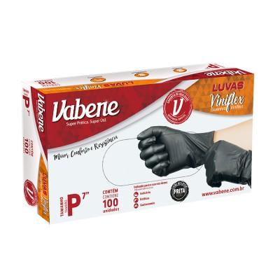 3751 - luva viniflex preta sem pó pequena Vabene 100un