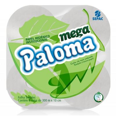 4107 - papel higiênico rolão folha simples Paloma 8 rolos x 300mt x 10cm