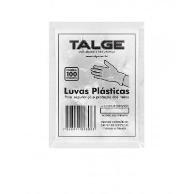 4915 - luva descartável plástica transparente Talge 100un