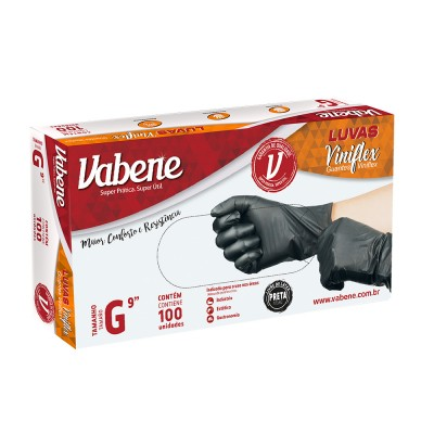 4966 - luva viniflex preta sem pó grande Vabene 100un