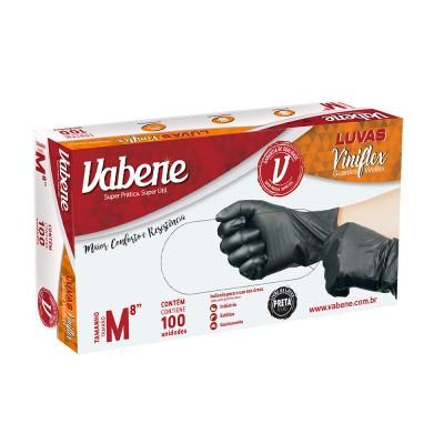 4967 - luva viniflex preta sem pó média Vabene 100un