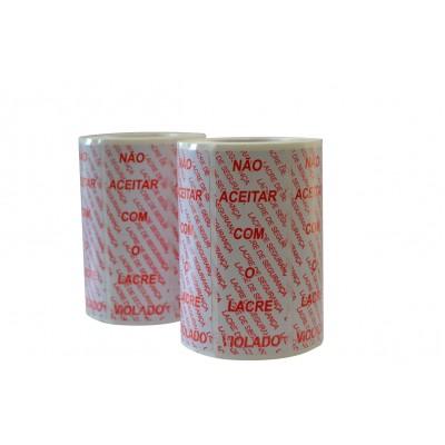 5075 - etiqueta adesiva lacre segurança não aceitar com o lacre violado 100 x 35mm 500un