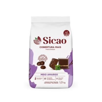 5626 - cobertura chocolate meio amargo gotas 1,01kg Sicao mais