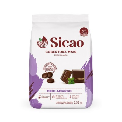 5826 - cobertura chocolate meio amargo gotas 2,05kg Sicao mais