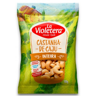 5850 - castanha de caju inteira sem casca La Violetera 100g