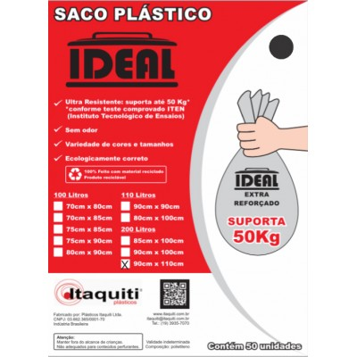 6695 - saco lixo preto 200lt 90 x 110cm Ideal 50un suporta 50kg
