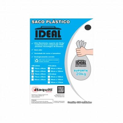 6696 - saco lixo preto 100lt 75 x 85cm Ideal 100un suporta 30kg