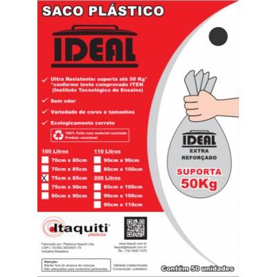 6698 - saco lixo preto 100lt 75 x 85cm Ideal 50un suporta 50kg