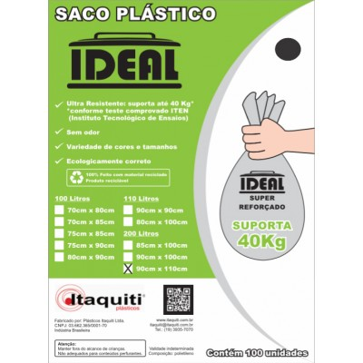 6699 - saco lixo preto 200lt 90 x 110cm Ideal 100un suporta 40kg