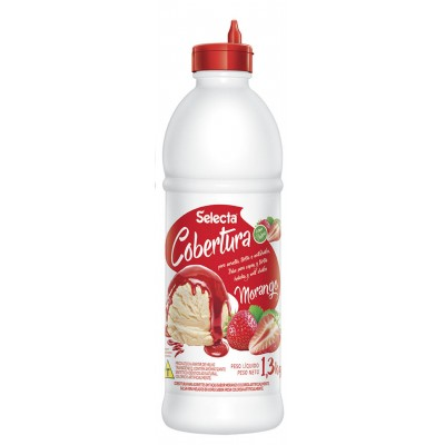 7240 - Selecta cobertura para sorvete com polpa de fruta morango 1,3kg