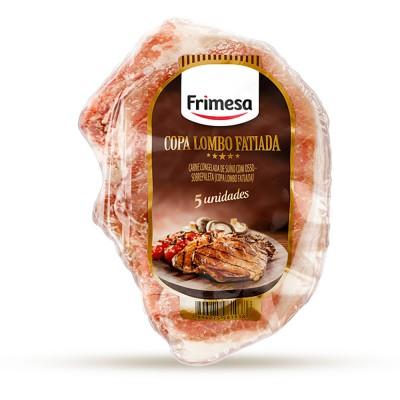 7497 - suíno - copa lombo fatiada com osso Frimesa pacote +/- 1,1kg 5 fatias