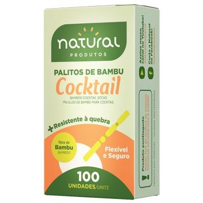 7752 - palito de bambu para cocktail Natural caixinha 100un