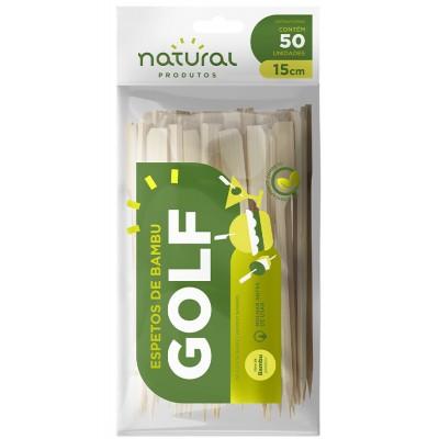 7755 - espeto de bambu tipo golf 15cm Natural 50un