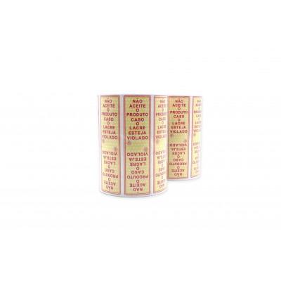 7789 - etiqueta adesiva lacre de seguranca não aceite o produto caso.. 100 x 30mm 500un