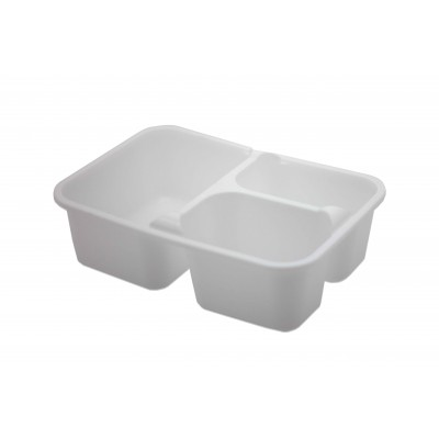 7846 - pote 1L branco retangul 3 divisões s/tampa freezer/micro Reflet 25un R042 tampa 7601