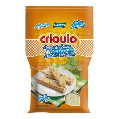 8037 - queijo coalho com orégano, salsa e cebolinha Crioulo +/- 400g 7 espetos