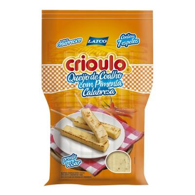 8038 - queijo coalho com pimenta calabresa Crioulo  +/-  400g 7 espetos