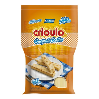 8039 - queijo coalho tradicional Crioulo +/- 400g 7 espetos