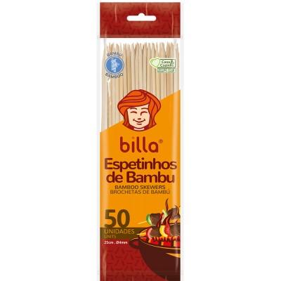8108 - espeto de bambu Billa 25cm 4mm 50un